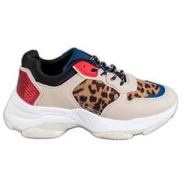 SHELOVET Modne Sneakersy Leopard Print brązowe wielokolorowe