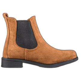 Ideal Shoes Casualowe Sztyblety brązowe
