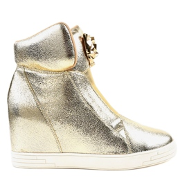 Złote sneakersy na koturnie jaguar KLS-105-5 żółte