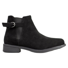 Ideal Shoes Zamszowe Botki czarne