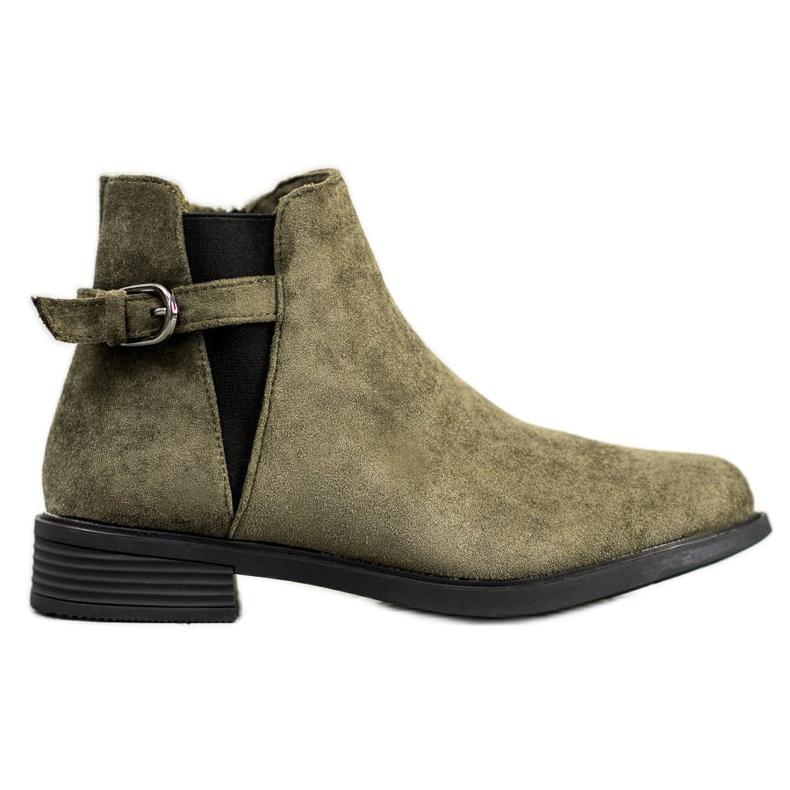 Ideal Shoes Zamszowe Botki zielone