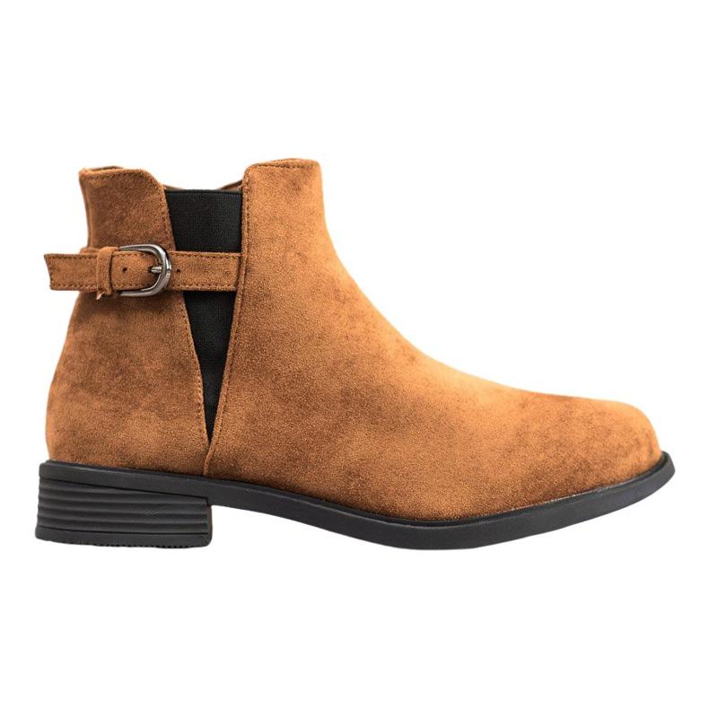 Ideal Shoes Zamszowe Botki brązowe