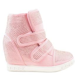 Różowe sneakersy na koturnie z ćwiekami KLS-112-4