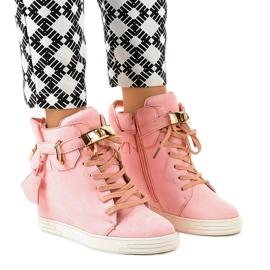 Różowe sneakersy na koturnie KLS-103-10