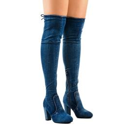 Jeansowe kozaki klasyczne HX15135-3B niebieskie
