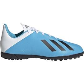 Buty piłkarskie adidas X 19.4 Tf Jr F35347 biały, niebieski niebieskie