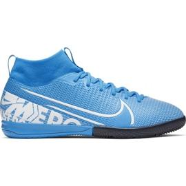 Buty piłkarskie Nike Mercurial Superfly 7 Academy Ic Jr AT8135 414 niebieskie biały, niebieski