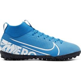 Buty piłkarskie Nike Mercurial Superfly 7 Academy Tf Jr AT8143 414 niebieskie biały, niebieski