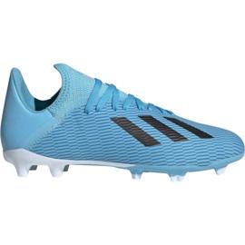 Buty piłkarskie adidas X 19.3 Fg Jr F35366 niebieskie biały, czarny, niebieski