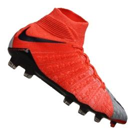 Buty piłkarskie Nike Wmns Hypervenom Phantom 3 Df Fg M 881545-058 czerwony, szary/srebrny