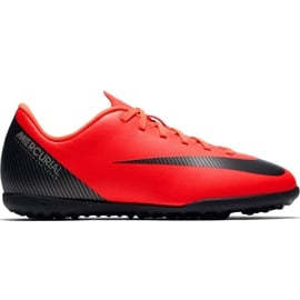 Buty piłkarskie Nike Mercurial Vapor X 12 Club Gs CR7 Tf Jr AJ3106 600 czarny, pomarańczowy czerwone