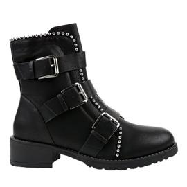 Czarne płaskie botki ocieplane Z149