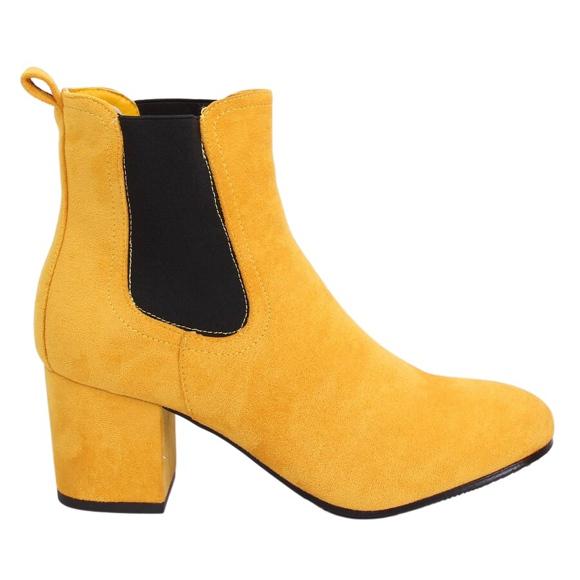 Sztyblety na obcasie żółte 2208-132 Yellow