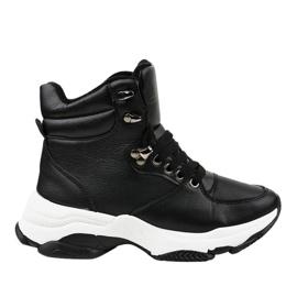 Czarne damskie sneakersy ocieplane C-3132