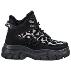 SHELOVET Sneakersy Leopard Print czarne