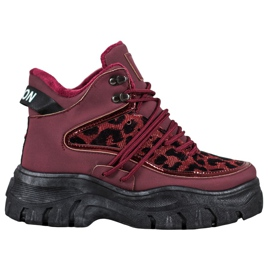 SHELOVET Sneakersy Leopard Print czerwone