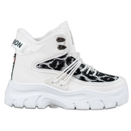 SHELOVET Sneakersy Leopard Print białe