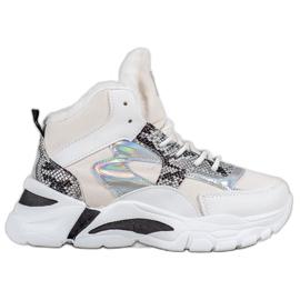 Bella Paris Sneakersy Z Efektem Holo białe