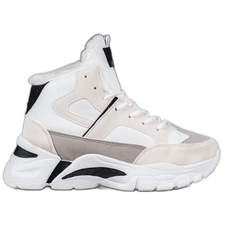 Bella Paris Sneakersy Z Futerkiem białe wielokolorowe