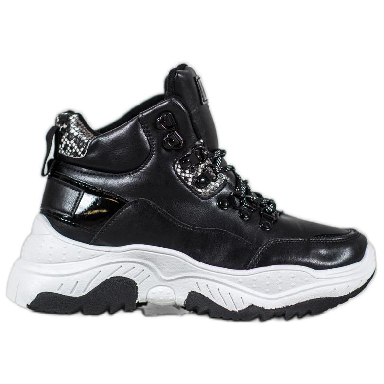 Bella Paris Sznurowane Sneakersy Fashion czarne