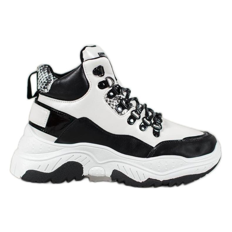 Bella Paris Sznurowane Sneakersy Fashion białe czarne