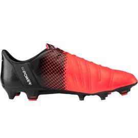 Buty piłkarskie Puma evoPOWER 1.3 Lth Fg M 103850 01 czarny, pomarańczowy pomarańczowe