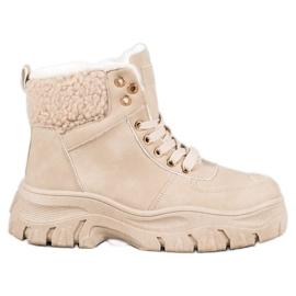 GOLL Ciepłe Sneakersy Z Kożuszkiem brązowe