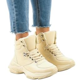Beżowe damskie sneakersy ocieplane C-3132 brązowe