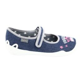 Befado obuwie dziecięce 114Y369 niebieskie różowe szare