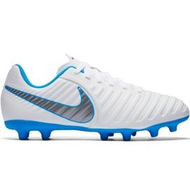 Buty piłkarskie Nike Tiempo Legend 7 Club Fg Jr AH7255 107 białe biały, niebieski