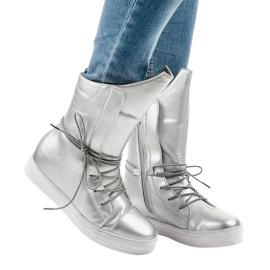Srebrne sneakersy ocieplane botki HX5187-5 szare