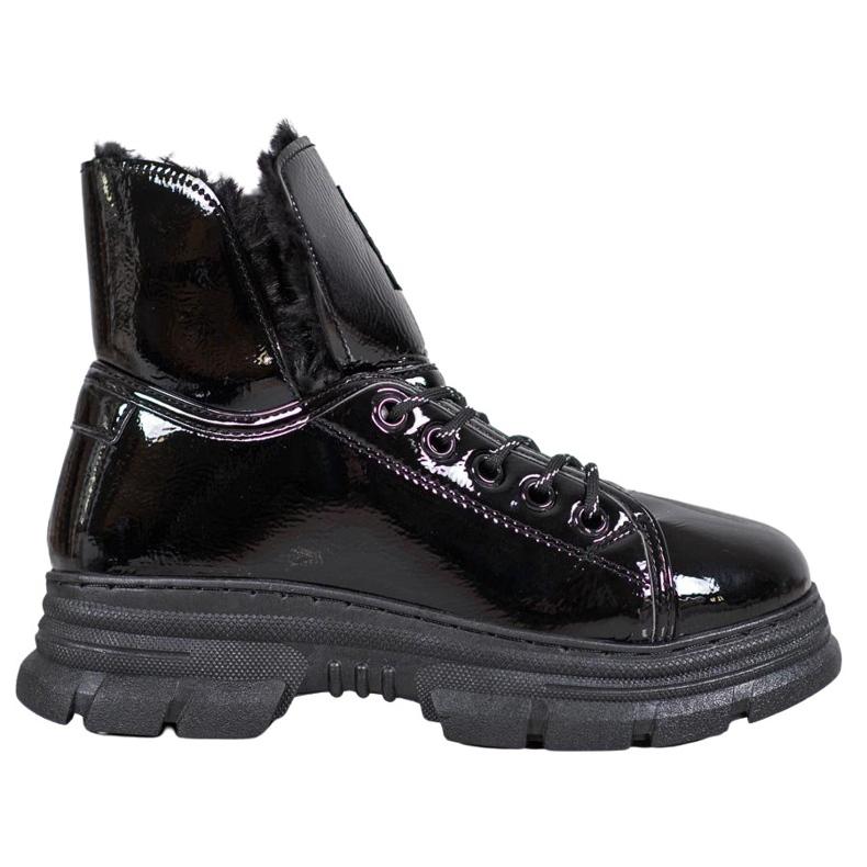 Bella Paris Sneakersy Z Lakierowanej Eko Skóry czarne
