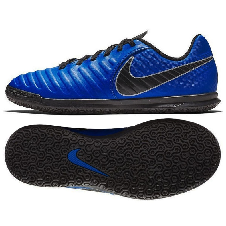 Buty piłkarskie Nike Tiempo Legend 7 Club Ic Jr AH7260 400 niebieskie granatowe
