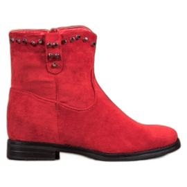 Ideal Shoes Ciepłe Kowbojki Z Dżetami czerwone