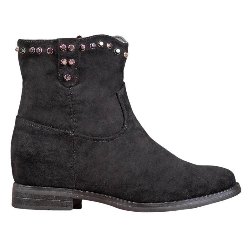 Ideal Shoes Ciepłe Kowbojki Z Dżetami czarne