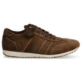 Półbuty Sneakersy Skóra NAT. N45 Brązowy brązowe