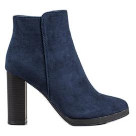 Ideal Shoes Klasyczne Botki Na Obcasie niebieskie