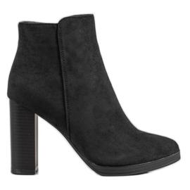 Ideal Shoes Klasyczne Botki Na Obcasie czarne