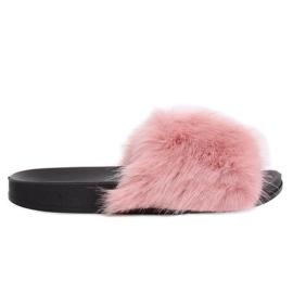 Klapki z futerkiem różowe CK107P Pink