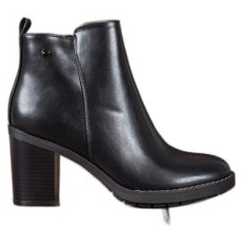 Ideal Shoes Wygodne Botki Na Obcasie czarne