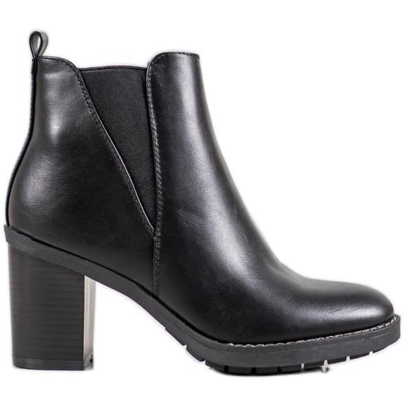 Ideal Shoes Wygodne Botki czarne