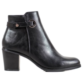 Ideal Shoes Klasyczne Botki Z Eko Skóry czarne
