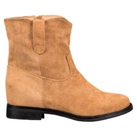 Ideal Shoes Ciepłe Kowbojki Na Koturnie brązowe