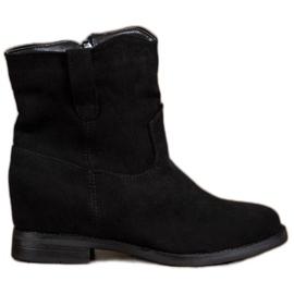 Ideal Shoes Ciepłe Kowbojki Na Koturnie czarne