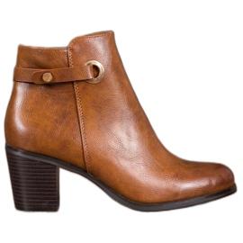 Ideal Shoes Klasyczne Botki Z Eko Skóry brązowe