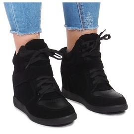 Sneakersy Na Koturnie LA-70 Czarny czarne
