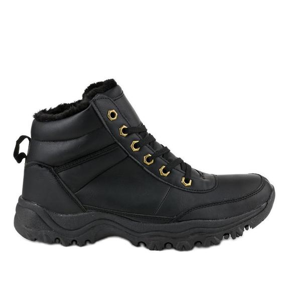 Czarne ocieplane buty trapery męskie GT-9578-1