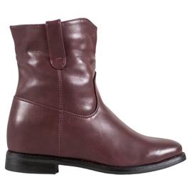 Ideal Shoes Kowbojki Z Eko Skóry czerwone