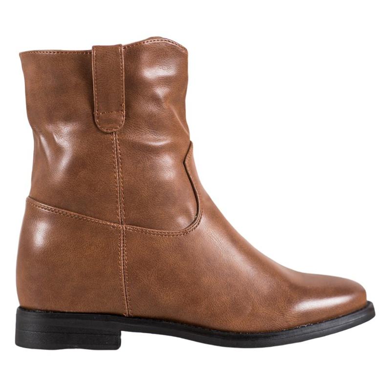 Ideal Shoes Kowbojki Z Eko Skóry brązowe