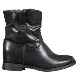 Ideal Shoes Kowbojki Z Eko Skóry czarne